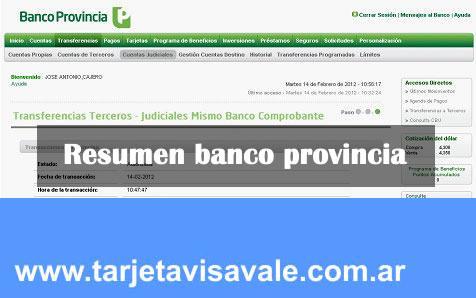 Como sacar el resumen de la tarjeta visa Banco Provincia